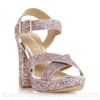 Women Head Over Heels by Dune - Multicoloured 'Miya' cross over platform sandals Heel height high 86mm to 100mm Upper glitter LIJTCCR
