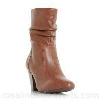 Women Head Over Heels by Dune - Tan 'Ronni' ruched heeled calf boots Heel height medium 40mm to 85 mm Material micro fibre ZRGZPLO