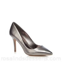 Women J by Jasper Conran - Silver leather 'Joss' high stiletto heel pointed shoes Heel height 8.8 cm / 3.4 inches Upper Leather EUPLGFE