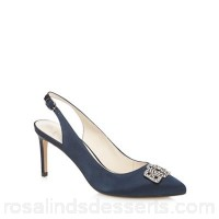 Women No. 1 Jenny Packham - Navy high stiletto heel pointed slingbacks Heel height 8cm / 3.1 inches Upper textile VOMBKHE