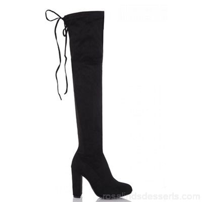 Women Quiz - Black faux suede over the knee boots Faux suede outer Tie Back ZPYGUEZ