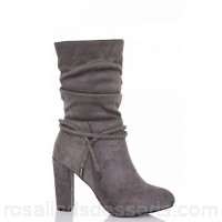 Women Quiz - Grey faux suede block heel ruched boots Faux suede Diamante feature HMNVHON