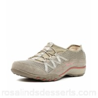 SKECHERS Women 11463 breathe easy relaxation taupe fabric Bungee laces Grippy soles SK10018-NGV-FA UODPEFS