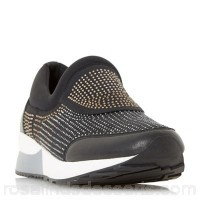 Women Dune - Black 'Echoes' embellished slip on trainers Heel height flats Upper fabric JTMJVOM