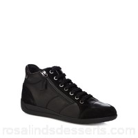 Women Geox - Black leather 'Myria' lace up trainers Upper Leather Lining Textile TKMYEBQ