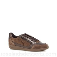 Women Geox - Brown 'Myria' lace-up trainers Lace and zip fastening Upper Leather man made materials CDNRXAA