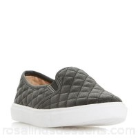 Women Head Over Heels by Dune - Black 'Elsaa q' quilted slip on trainers Heel height flats Upper synthetic KLMGGZU