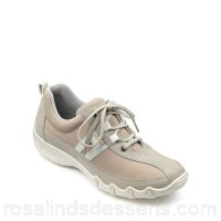 Women Hotter - Cream suede 'Leanne' wide fit lace up trainers Removable cupped footbed Padded collar and tongue GTTERPI