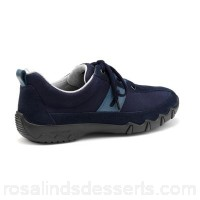 Women Hotter - Navy 'Leanne' wide fit lace-up trainers Nubuck leather and suede Padded collar and tongue ZOWTPTA