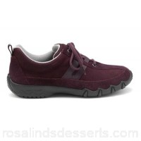 Women Hotter - Plum 'Leanne' lace-up trainers Nubuck leather and suede Padded collar and tongue MZFGBVJ