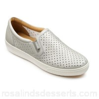 Women Hotter - Silver leather 'Daisy' slip on trainers Cushioned leather insole Comfortable padded collar UOTMBZS