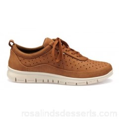 Women Hotter - Tan 'Gravity' lace-up trainers Perfect for everyday activities Perforated leather uppers OPOSOBB