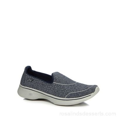 Women Skechers - Navy 'Go Walk 4' slip-on trainers Upper textile Lining textile JRBITET
