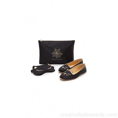 Charlotte Olympia Women Cat Nap Slipper Set Black COLYM30032 MMECAAO