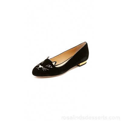 Charlotte Olympia Women Kitty Flats Black/Gold COLYM30027 BDUYESV