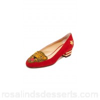 Charlotte Olympia Women Mascot Flats Red/Gold COLYM30140 REPGYQU