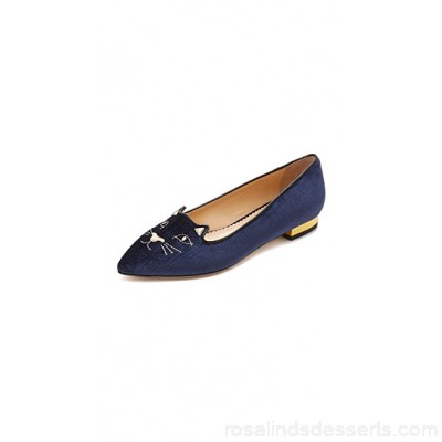 Charlotte Olympia Women Mid Century Kitty Flats Navy/Gold COLYM30084 EVHGGVP