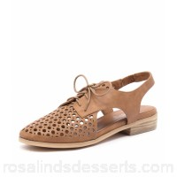 I LOVE BILLY Women quibblet tan smooth Perforated upper Stacked heel IL10204-TAN-SM SXBMCPZ
