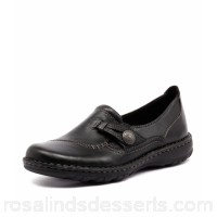 PLANET Women lacey black leather Decorative button detail Contoured and padded footbed PL10004-BLA-LE BKTOUMX