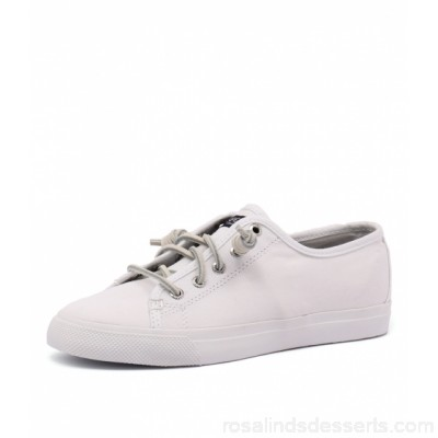 SPERRY Women seacoast core canvas mono all white canvas Vulcanised construction with secure bond between upper and outsole Lace-up fastening with signature rawhide laces SP10038-WEO-CA UODZMEP