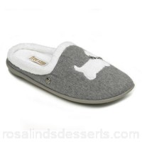 Women Freestep - Ladies grey 'Westie' E fit mule slippers Upper textile Lining textile XMKCWZR