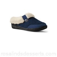 Women Lands' End - Blue chunky knit slippers Cushy foam footbed Polyester knit faux suede trim; acrylic faux fur lining VXVVAEI