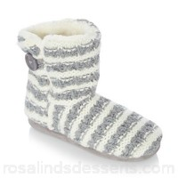 Women Lounge & Sleep - Grey knitted stripe ankle slipper boots Hard sole - unsuitable for outdoor wear Upper Textile SHTOIAT
