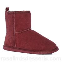 Women Lounge & Sleep - Maroon red suede slipper boots Hard sole - suitable for outdoor wear Upper Suede GQUGESN