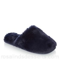 Women Lounge & Sleep - Navy faux fur mule slippers Hard sole - unsuitable for outdoor wear Upper Textile BLYBYEX