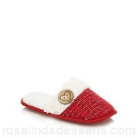 Women Lounge & Sleep - Red knitted mule slippers Upper textile Lining textile EFHUXGB