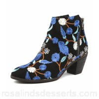 I LOVE BILLY Women nolo black&blue flow fabric Functional side zips Stacked block heel IL10352-BMO-FA ESSXHCR