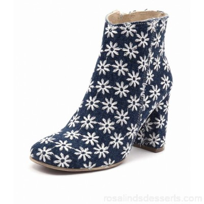 MARIA ROSSI Women capriana blue cut suede leather Decorative floral stitching with frayed effect Functional side zip MA10016-BLU-ED BOHEQEE