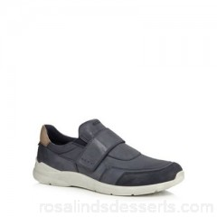 Men ECCO - Navy leather 'Irondale' trainers Upper Leather Lining Leather / Textile YNBYDKA