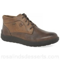 Men Josef Seibel - Brown leather 'Rudi' waterproof ankle boots Fastening lace up Fit standard LGHNONG