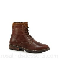 Men Mantaray - Tan leather lace up boots Seven pairs of eyelets Black laces KGZCXLF