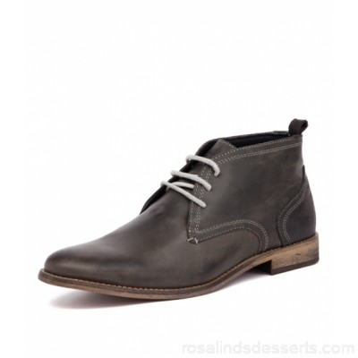 WILD RHINO Men chism dark grey leather Hand-crafted Well-worn finish WR10000-G21-LE ATFGXVF