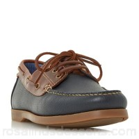 Men Dune - Navy 'Boater' classic boat shoes Fastening lace up Upper leather SBUTDMQ