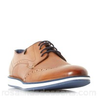 Men Dune - Tan 'Beckham' wedge sole Gibson shoe Heel height 1.0cm/0.3 inches Fastening lace up TEQGPRS
