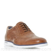 Men Dune - Tan 'Bransson' white wedge sole brogue shoes Fastening Lace up Upper Leather VWHUFVL