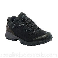 Men Regatta - Black holcombe walking shoe PU nubuck and breathable mesh upper Hydropel water resistant technology DHMPFGF