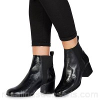 Women Faith - Black leather 'Belisa' mid block heel ankle boots Heel height 6cm / 2.4 inches Upper Leather VHYRZXX