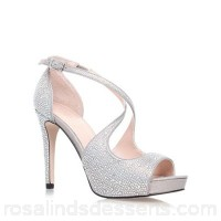 Women Carvela - Silver 'Gift' high heel strappy sandal Upper Fabric Lining Synthetic XIKCPBQ