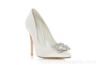 Women Dune - Ivory 'Breanna' jewelled square brooch pointed toe court shoe Heel height very high above 100mm Upper satin SYJXDIS
