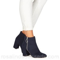 Women Faith - Navy suedette 'Weryn' high heel wide fit ankle boots Wide fit Zip fastening LVSLPXX