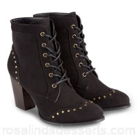 Women Joe Browns - Black high block heel lace up ankle boots Heel height 8cm/3.25 inches Upper textile VWZTTAX