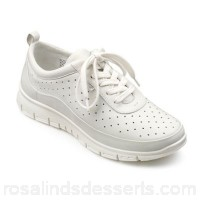 Women Hotter - White leather 'Gravity' lace up trainers Perfect for everyday activities Easy rear pull tab BQINUZF