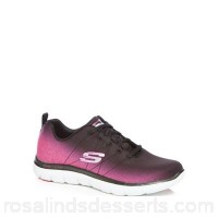 Women Skechers - Black and pink 'Flex Appeal 2.0 Bright Side' trainers Upper Textile Lining Textile QVMFKED